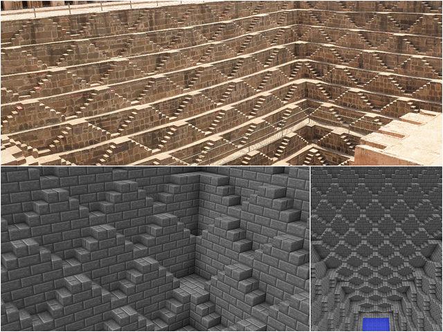 インドで見たチャンドバオリの階段井戸をminecraftで再現