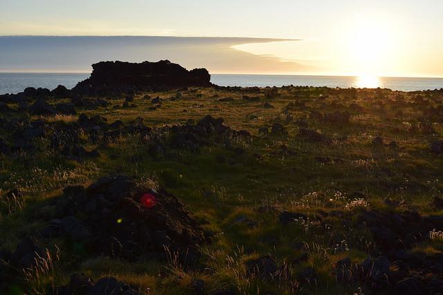 西の端。美しい夕日。